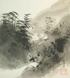 Vintage Japanese Shikishi Art Sumi-e Landscape Nihonga by softypapa, via Flickr