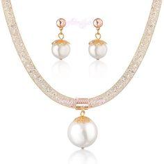 Wedding Bridal Jewellery Set White Crystal Heart Earrings Necklace Bracelet S267