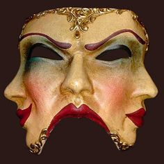 I love the subtle asymmetry of this mask and how the amused eyebrow and the eyebrow of beauty meet to become angry eyebrows.