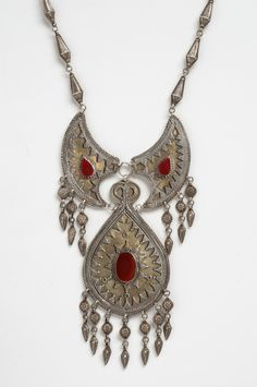 Pectoral Ornament. Turkmen - Asia. Mid- 19th - mid- 20th century.  Silver, silver-gilt, and carnelian.