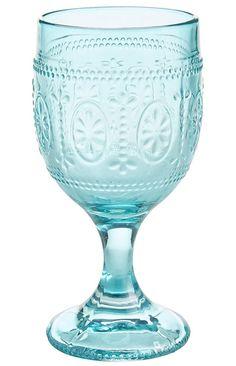 Clara Pressed Blue Glass Goblet