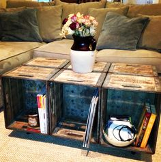 I would use 4 crates too, but finish nicer.maybe paint, and a cushion on part of top?---Love this as a coffee table! great storage and would downsize it to 4 crates -SD Crate Furniture, Repurposed Furniture, Office Furniture, Milk Crates, Wooden Crates, Decorating Coffee Tables, Looks Vintage, Home Projects, Diy Home Decor