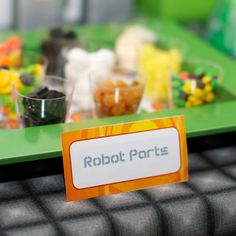 Robot Party Birthday Food Labels from the DIY Printable Robot Rules Birthday Party Collection by Spaceships and Laser Beams. $4.50, via Etsy.