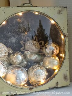 Christmas 2014 ~ See through tin with old Christmas ornaments
