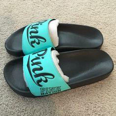 ❤️Love Pink Slides❤️ New/unused , Sz Lg , Aqua PINK Victoria's Secret Shoes Slippers