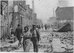 Thessaloniki after the Great Fire (1917). The larger part of the population were Sephardi Jews. After losing their homes and businesses, nearly half the Jews emigrated; mainly to France, the U.S. and some to Palestine.