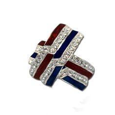 Patriotic Red, White & Blue Crystal Earrings - Red and blue enamel hoop earrings with diamond like Swarovski crystals. Price: $20.00  http://www.starsandstripesproducts.com/patriotic-red-white-blue-crystal-earrings/