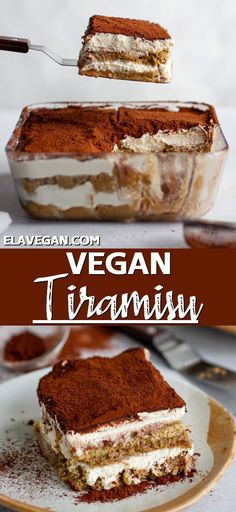 Dairy Free Tiramisu, Vegan Tiramisu, Healthy Tiramisu Recipe, Tiramisu Dessert, Vegan Treats, Vegan Foods, Vegan Dishes, Gourmet Foods, Eggless Desserts
