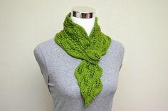 Leaves and Mock Cables Scarf Knitting Pattern