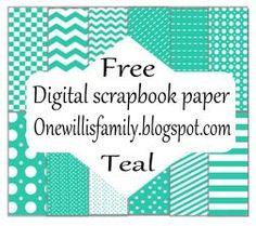 One Willis Family: Teal digital scrapbook paper: Free
