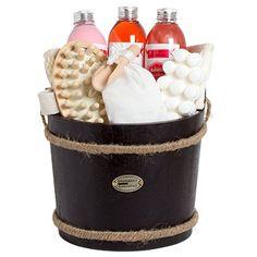 BRUBAKER 9 Pcs Wooden Pail Spa Bath Gift Set - Cranberry