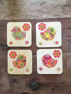 Retro bird coasters x4 by maxsmagicalfelts on Etsy