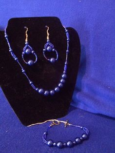 Large and small  blue pearl 18 inches 3pc set by CJhandmadeJewelry