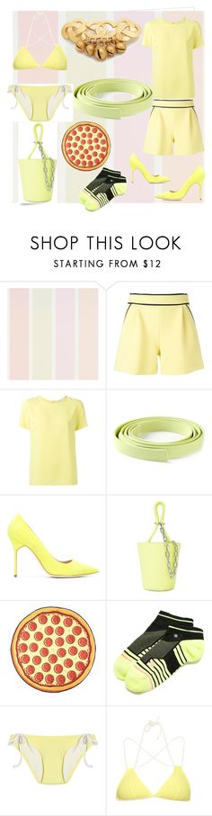 """""""yellow line's of set"""" by denisee-denisee ❤ liked on Polyvore featuring Post-It, Boutique Moschino, P.A.R.O.S.H., Ermanno Scervino, Manolo Blahnik, Alexander Wang, Stance, Solid & Striped and vintage"""
