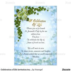 Lovely Celebration Of Life Invitation Ivy And Flowers