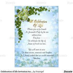 Celebration of life Invitation hydrangea Hydrangea Celebrations