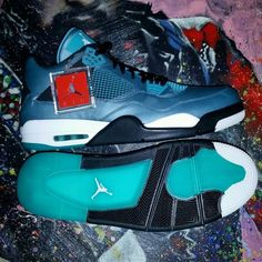Air Jordan 4 Retro Teal Size 16 Oreo Laser Columbia Legend Cement Infrared 3 5 6 #Columbia #BasketballShoes
