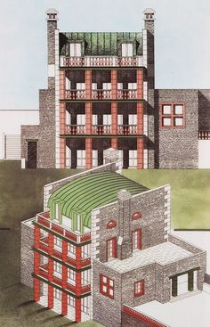 Aldo Rossi, Drawing for Villa Alessi, 1991: