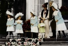 Empress Alexandra Fyodorovna Romanova of Russia with her uncle-in-law Grand Duke Vladimir Alexandrovich and her five children, from left to right Grand Duchesses Maria, Anastasia, Tatiana, Tsarevich Alexei and Grnad Duchess Olga.