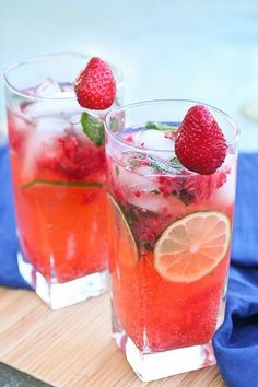 Strawberry Mojitos.  I look forward to making these bevies this summer!