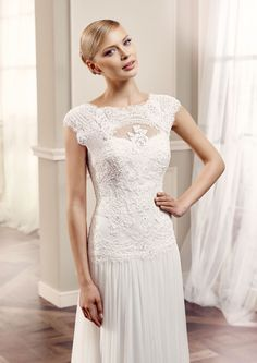 A pretty lace bridal gown by Modeca. Perfect for a bride wanting a soft, feminine wedding dress! #weddings #bridalboutiqueatfroxoffalkirk