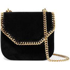 Stella McCartney The Falabella Box mini faux leather-trimmed velvet shoulder  bag be659ca65635f