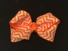 3 Inch Orange and White Chevron Bow by KTEdesigns on Etsy