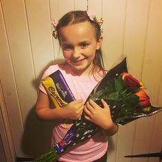 Our daughter has had an amazing time with @balletcymru all week in workshops and then tonight doing a show routine before #midsummernightsdream  and then she come home and her lovely Dad has bought her a bouquet of roses and chocolate  Big thanks to Nanny Linda too  we couldn't have coped this week without you. #truegentleman #bestdadever #besthusbandever #ballet #balletcymru #bestnanny