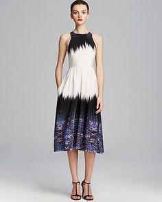 Tibi Dress - Ibis Silk Bordered Crossback color block