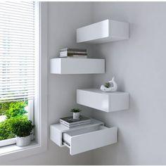 Corner Shelves Bedroom, Corner Shelf Design, Corner Storage Shelves, Floating Shelves Bedroom, Hidden Storage, Extra Storage, Floating Nightstand, Diy Storage, Bedroom Wall Cabinets