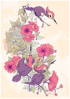 "sticksandsharks: "" some good birds from johto and alola. available on society6! """