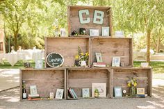 Cute display idea of décor/relics for a wedding - Rustic California wedding   photo by Kristen Booth Photography   100 Layer Cake
