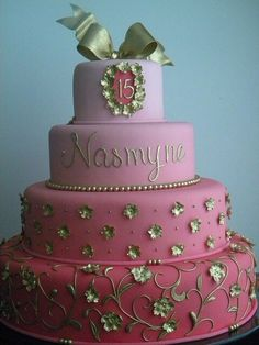 pink ombre cake with gold accents Girly Cakes, Fancy Cakes, Pink Cakes, Pretty Cakes, Cute Cakes, 15th Birthday Cakes, 4th Birthday, Pink Ombre Cake, Quinceanera Cakes