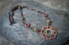 collier hippie - céramique artisanale, verre