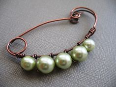 Pearls With a Twist Copper Scarf Pin - Shawl Pin - Sweater Pin. $18.00, via Etsy.