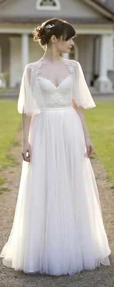 bohemian wedding dress / wedding dress / open back wedding dress / two piece wedding dress / flutter sleeve wedding dress #weddingdresses
