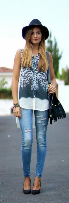 Ripped jeans and leopard
