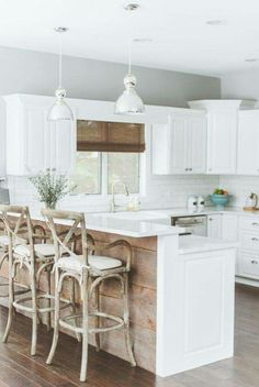 9 Cheap And Easy Diy Ideas: Modern Farmhouse Kitchen Remodel kitchen remodel black appliances light fixtures.Open Kitchen Remodel Exposed Beams tiny kitchen remodel how to build.Kitchen Remodel With Island Window. Wood Kitchen Island, Kitchen Cabinets, Kitchen Islands, Wooden Island, Kitchen Cupboard, Kitchen Island Upstand, Kitchen Backsplash, Kitchen Without Island, Kitchens With White Cabinets