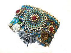 Native American / Aztec - Navajo inspired friendship bracelet cuff - statement jewelry - navajo jewelry - boho chic hippie jewelry