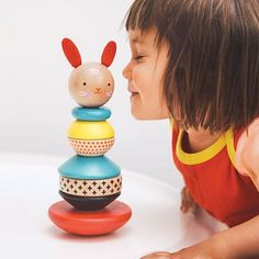 Wooden Stacking Toy - Modern Bunny and thousands more of the very best toys at Fat Brain Toys. This bunny stacks up to be both art and friend! Made of sustainable wood and water-based paint and varnish, this little bunny is eco. Baby Wunder, Baby Toys, Kids Toys, Toddler Toys, Bebe Love, Playroom Flooring, Wooden Rabbit, Nursery Shelves, Stacking Toys