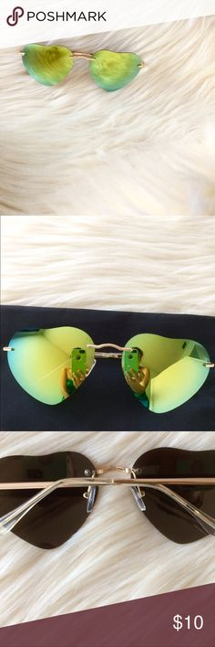 Heart Shaped 😎 Frameless heart shaped sunglasses with reflective mirrored lenses. Comes with soft vinyl case. Minor discoloration in third pic. Perfect for summer beach parties or brunch✨ adidas Accessories Sunglasses