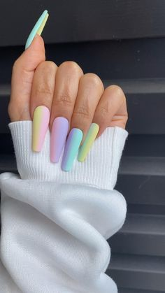 Bright Pink Nails, Matte Pink Nails, Yellow Nails, Purple Nails, Pastel Nails, Multicolored Nails, Acrylic Nails Coffin Short, Summer Acrylic Nails, Cute Acrylic Nails