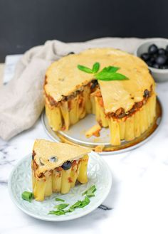 Vegan Pasta Pie with mushroom olive marinara and cashew cream   #vegan #glutenfree www.contentednesscooking.com
