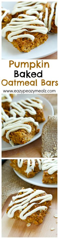 Like Quaker Baked Oatmeal Bars but with a fun oatmeal twist. Perfect for on-the-go snacking! -Eazy Peazy Mealz (Butter Substitute For Brownies) Pumpkin Recipes, Fall Recipes, Cookie Recipes, Dessert Recipes, No Bake Oatmeal Bars, Oatmeal Squares, Pumpkin Squares, Oat Bars, Yummy Treats