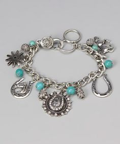Take a look at this Turquoise Horseshoe Charm Bracelet by Gabrielle Jewelry on #zulily today!