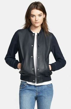 A.P.C. Snap Front Leather & Suede Bomber Jacket | Nordstrom