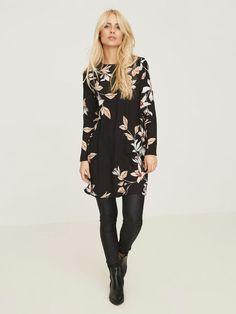 FLOWER LONG SLEEVED DRESS, Black, large