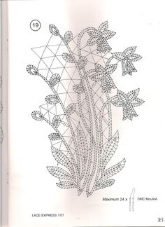 Lace Express 2007-01 - Ana GALLARDO CANO - Picasa Web Album Crochet Edging Patterns, Bobbin Lace Patterns, Lace Knitting Patterns, Sewing Machine Embroidery, Paper Embroidery, Embroidery Dress, Bobbin Lacemaking, Vbs Crafts, Point Lace