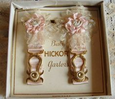 Circa 1920s 1 Pair Of Exquisite Pink Silk Baby Garters Adorned With Ribbonwork Flowers Original Box