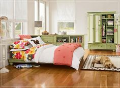 bedroom interior design ideas for teenage girls lOVE THE GREEN ARMOIRE